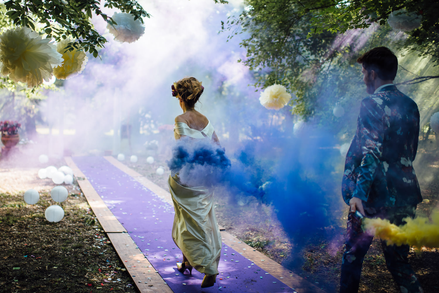 Wedding smoke bombs in Bordeaux Chateau wedding by creative destination wedding photographer the shannons photography