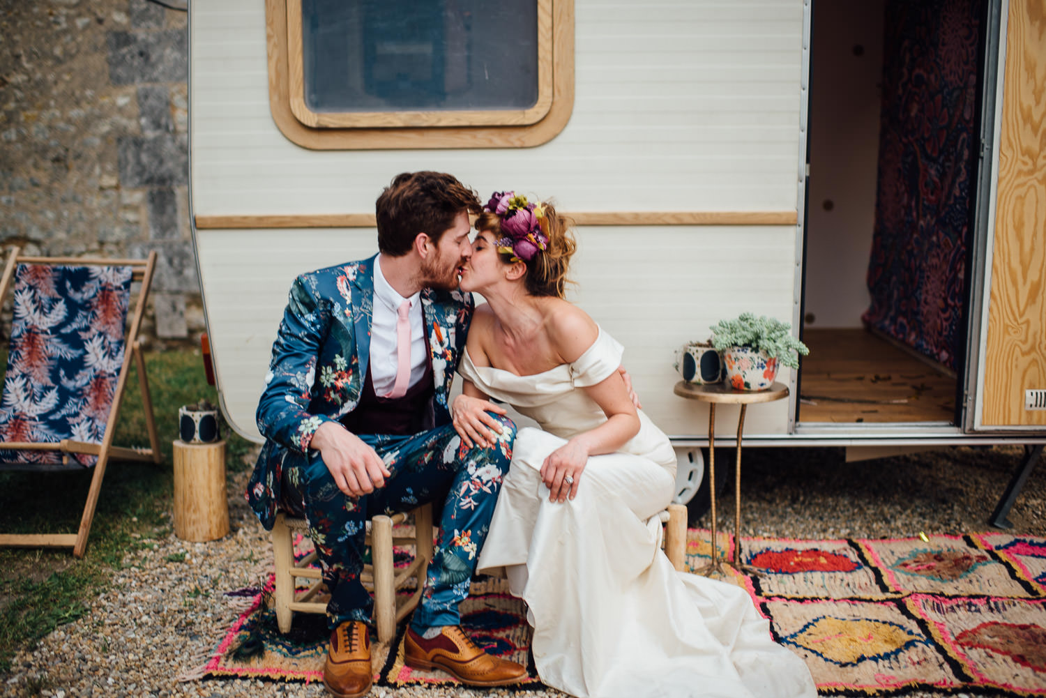 Vintage caravan in Bordeaux Chateau wedding by creative destination wedding photographer the shannons photography