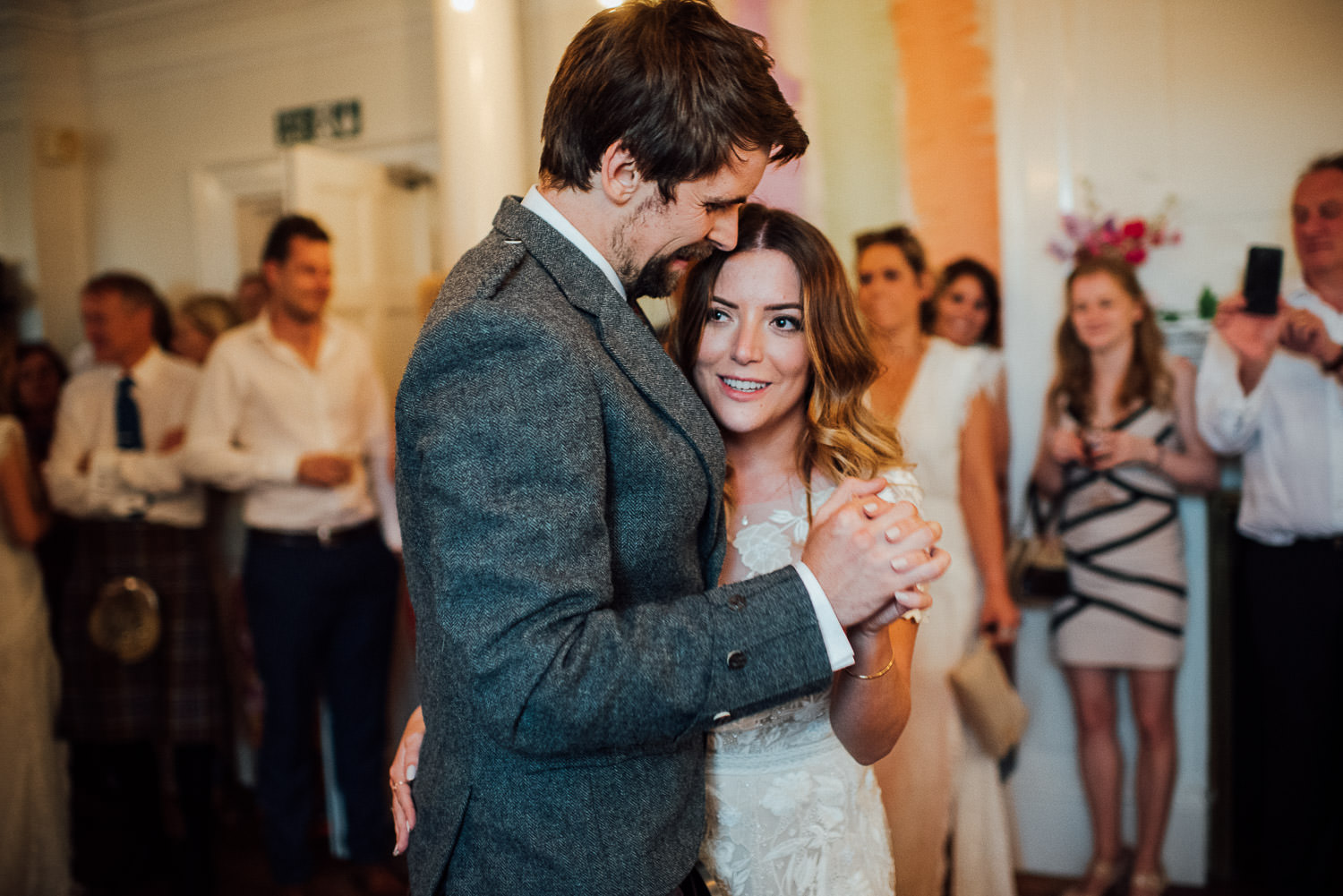 Bride and groom dancing in Barley Wood House Bristol Wedding by bristol wedding photographer the shannons photography