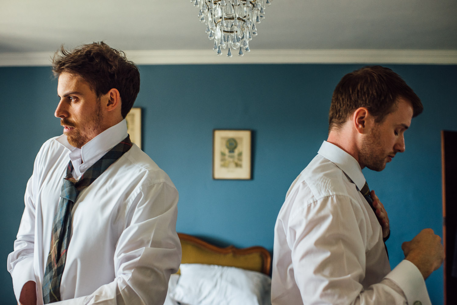 Groomsmen getting ready in Barley Wood House Bristol Wedding by bristol wedding photographer the shannons photography
