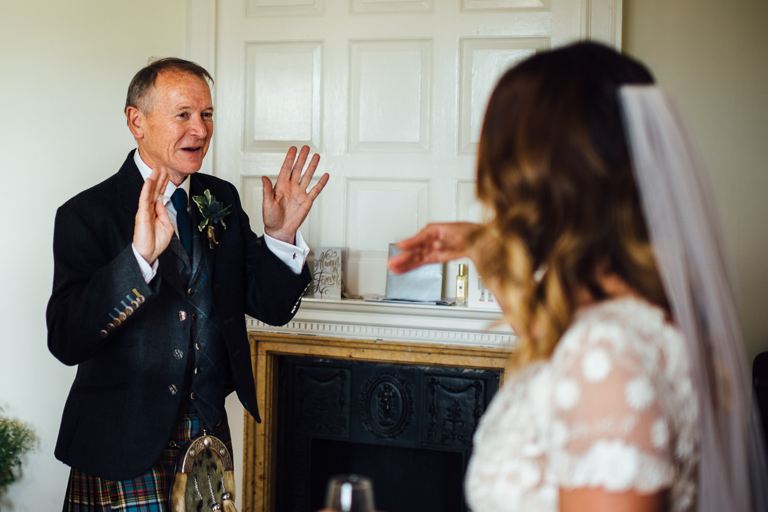 Emotional father of the bride in Barley Wood House Bristol Wedding by bristol wedding photographer the shannons photography