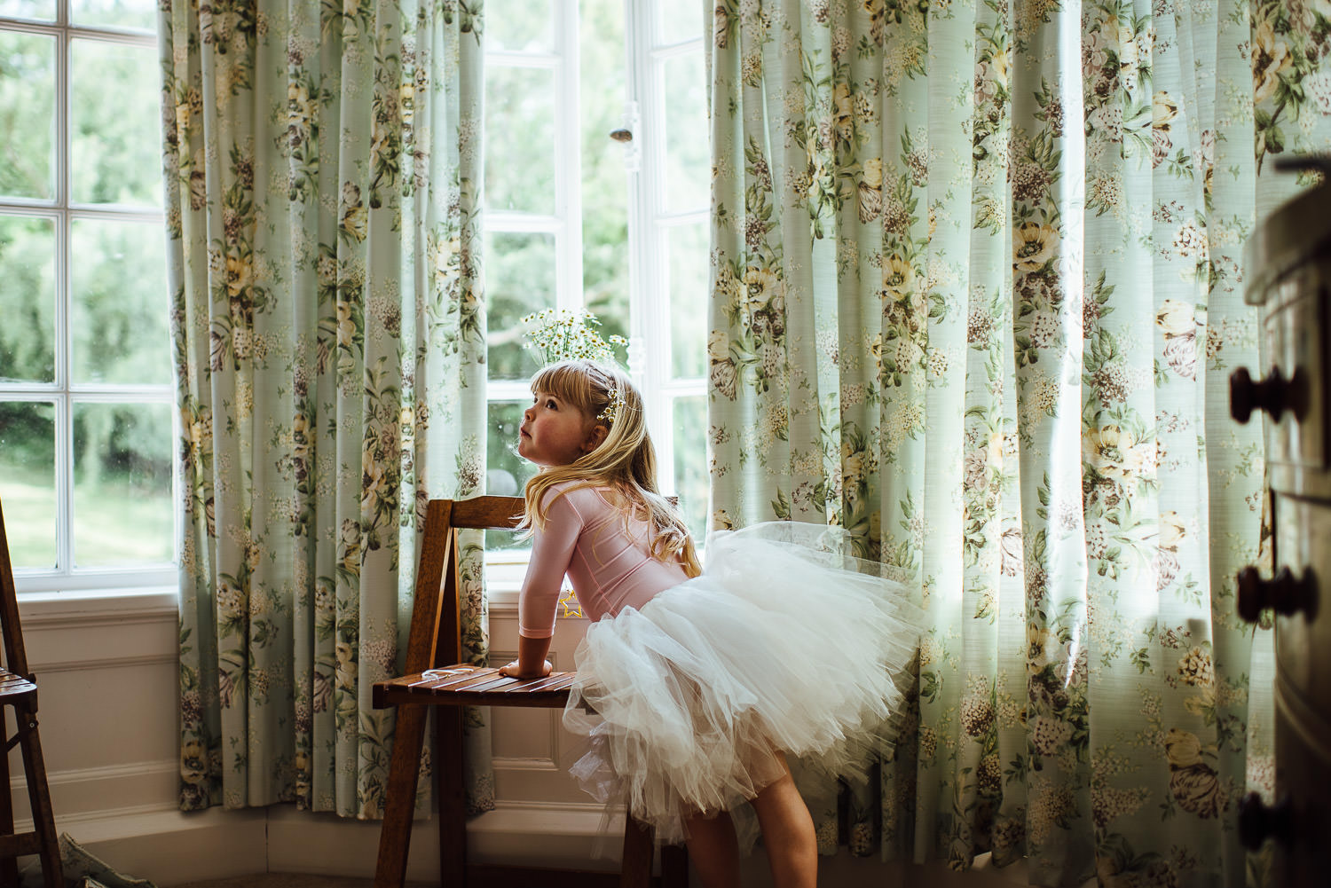 Flowergirl outfit in Barley Wood House Bristol Wedding by bristol wedding photographer the shannons photography