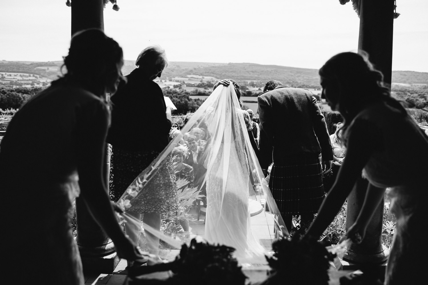 Brides veil in Barley Wood House Bristol Wedding by bristol wedding photographer the shannons photography