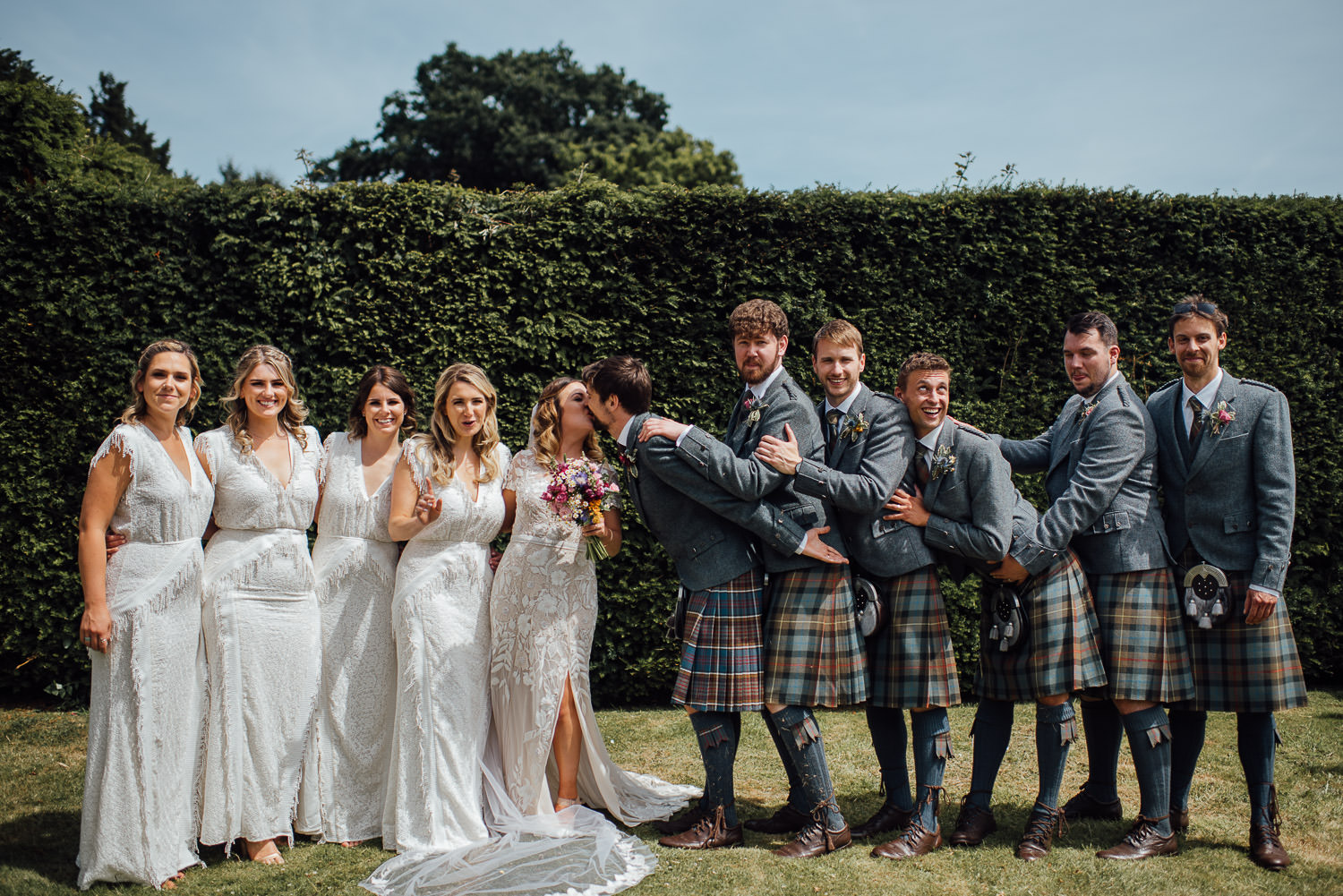 Wedding party in Barley Wood House Bristol Wedding by bristol wedding photographer the shannons photography