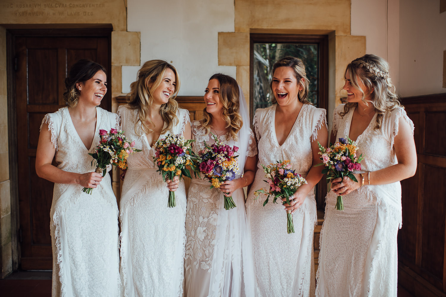 Bridesmaids in Barley Wood House Bristol Wedding by bristol wedding photographer the shannons photography