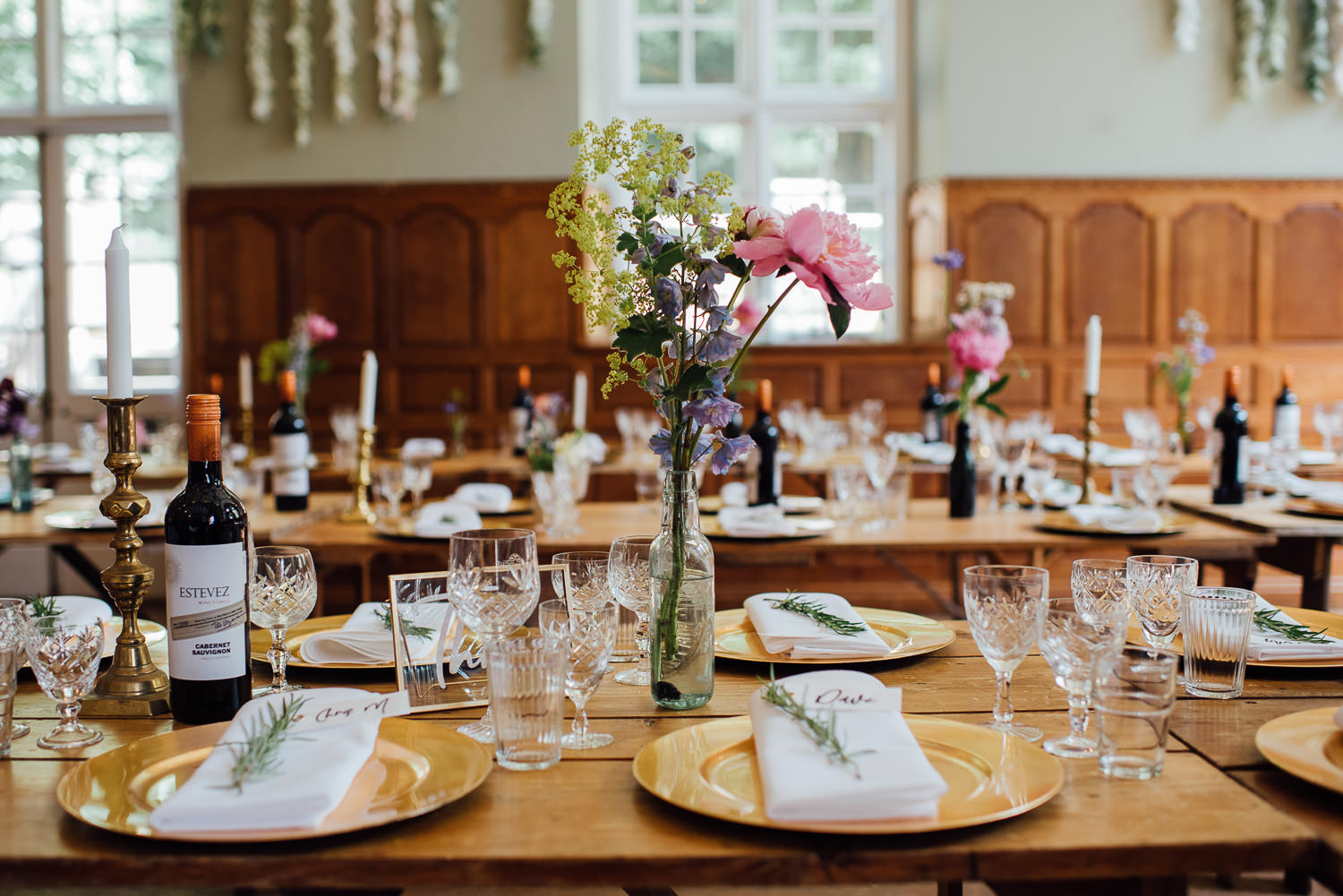 Vintage glasses in Barley Wood House Bristol Wedding by bristol wedding photographer the shannons photography