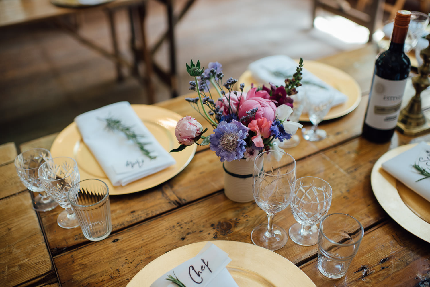 Vintage wedding table decorations in Barley Wood House Bristol Wedding by bristol wedding photographer the shannons photography