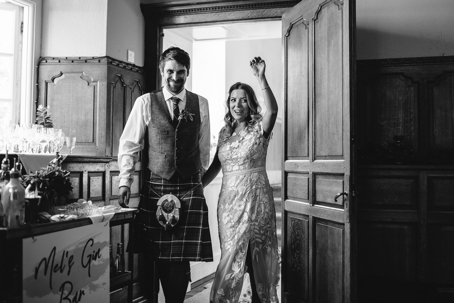 Brides entrance in Barley Wood House Bristol Wedding by bristol wedding photographer the shannons photography