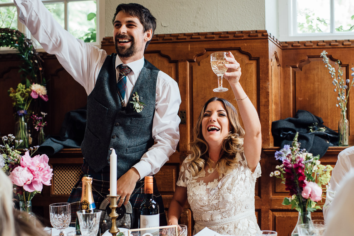 Bridal toast in Barley Wood House Bristol Wedding by bristol wedding photographer the shannons photography