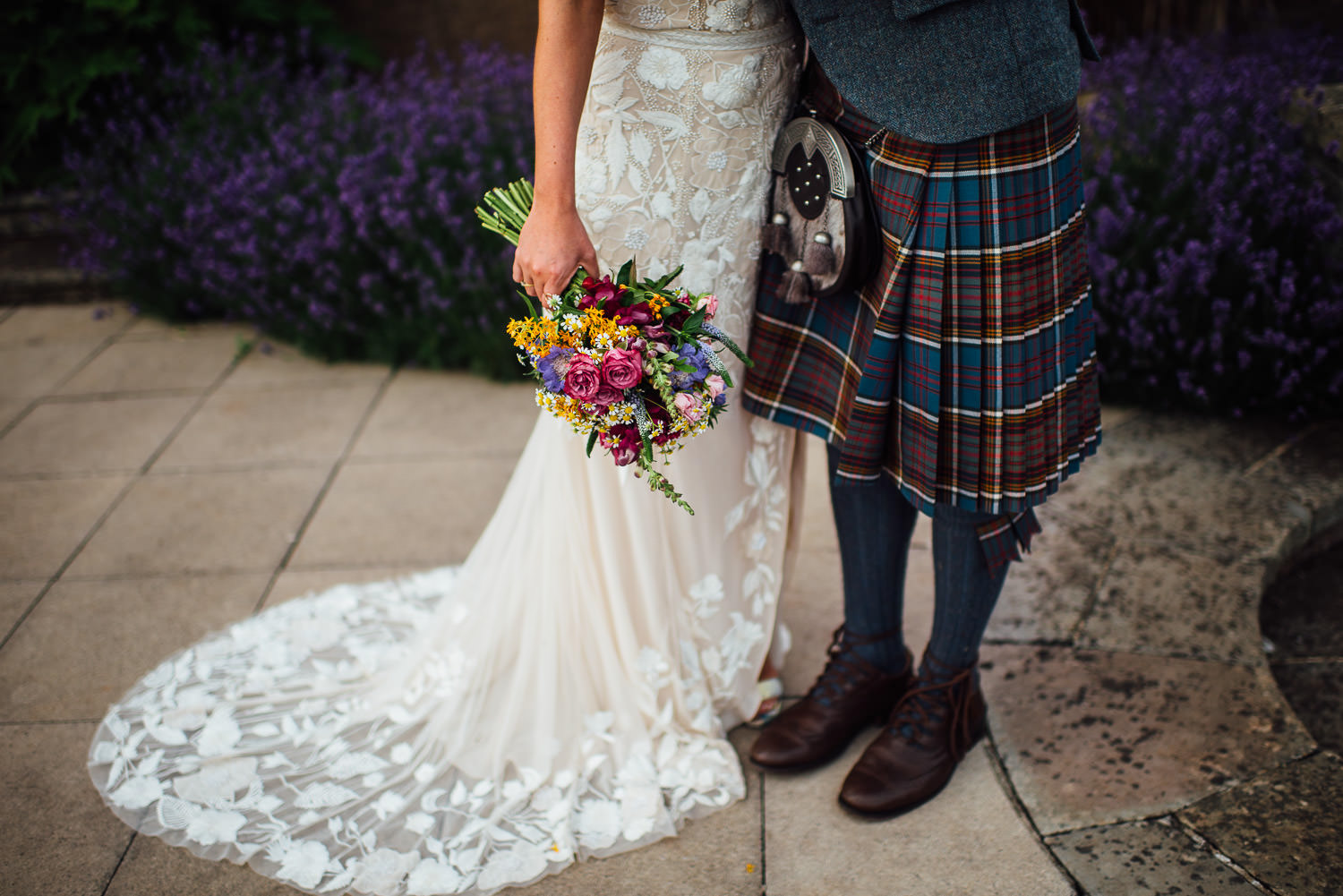 Groom in kilt in Barley Wood House Bristol Wedding by bristol wedding photographer the shannons photography