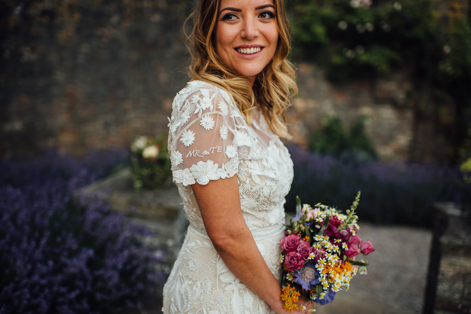 Bride in hermione de paula wedding dress in Barley Wood House Bristol Wedding by bristol wedding photographer the shannons photography