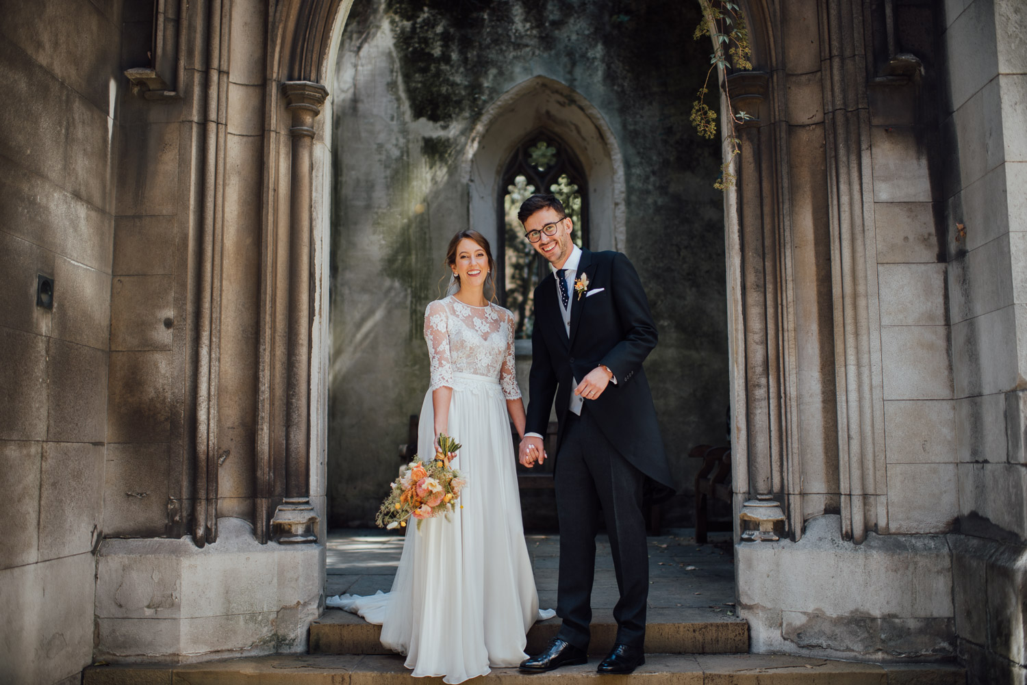 couple portraits wilton's music hall wedding by london wedding photographer the shannons photography