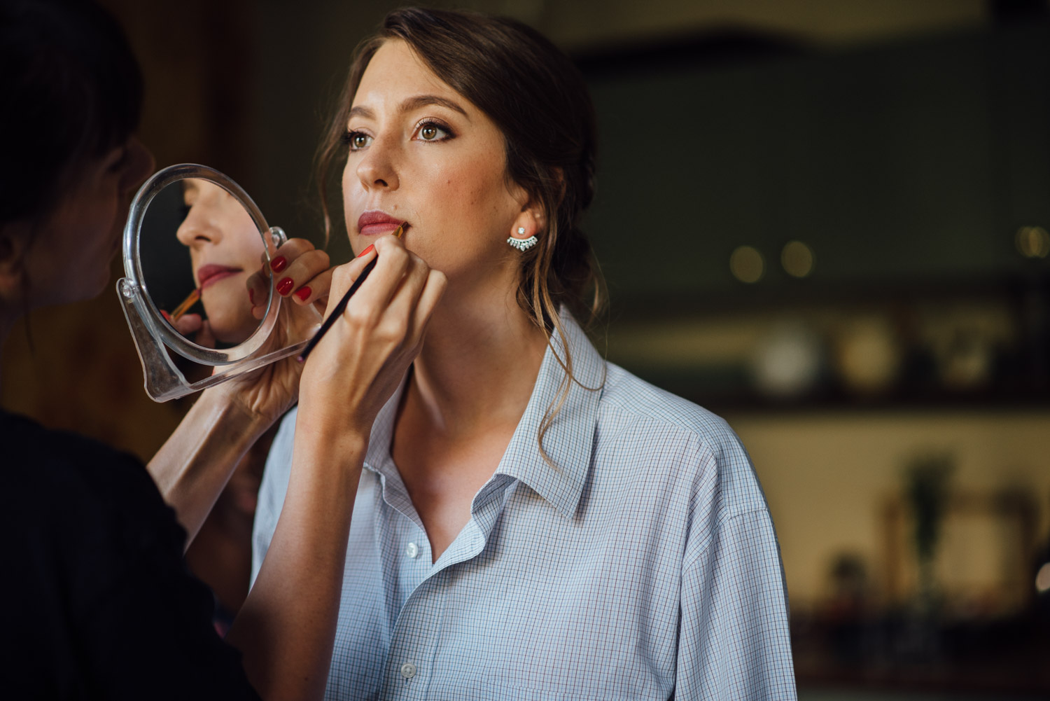bride getting ready wilton's music hall wedding by london wedding photographer the shannons photography