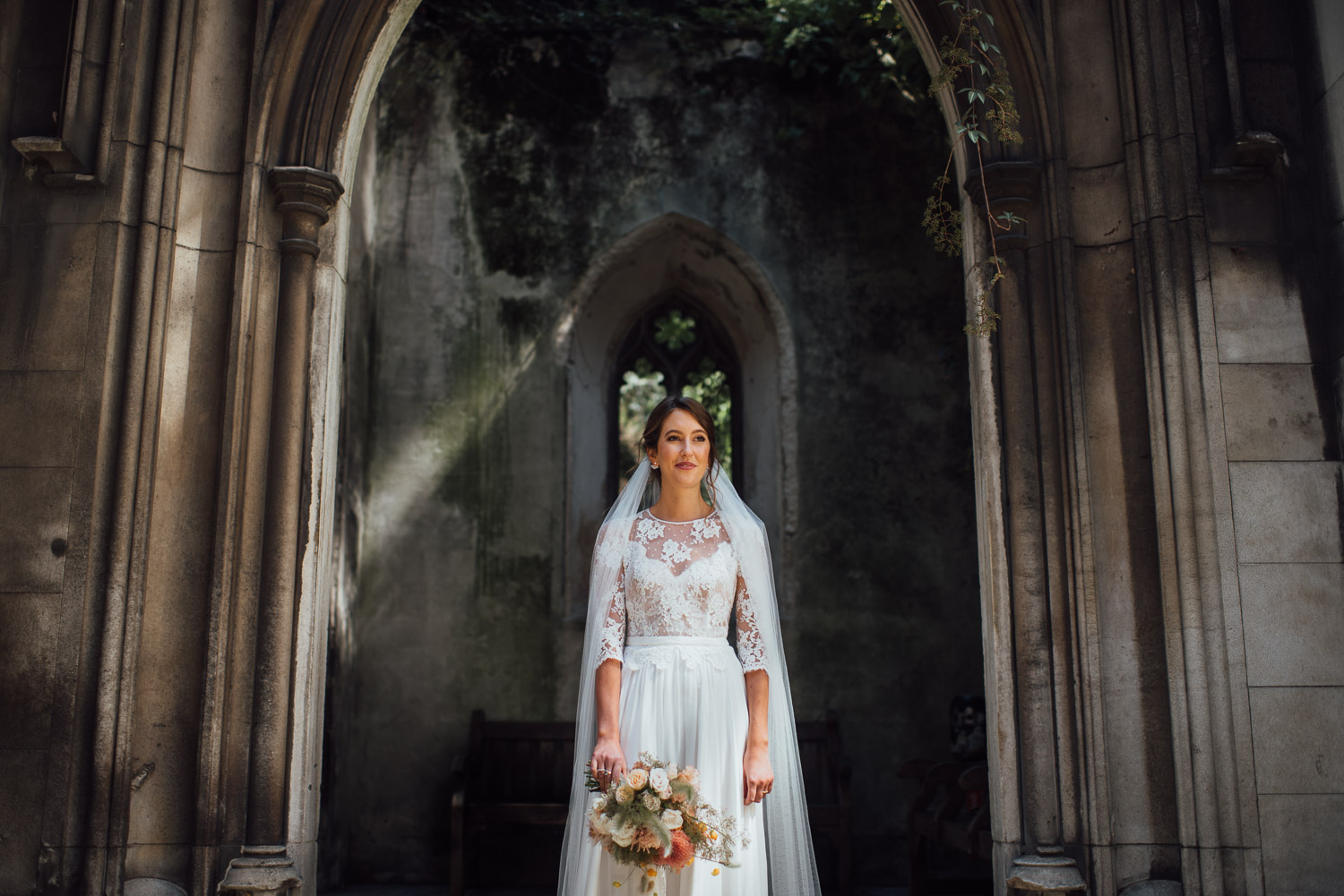 margaux tardits wedding dress wilton's music hall wedding by london wedding photographer the shannons photography