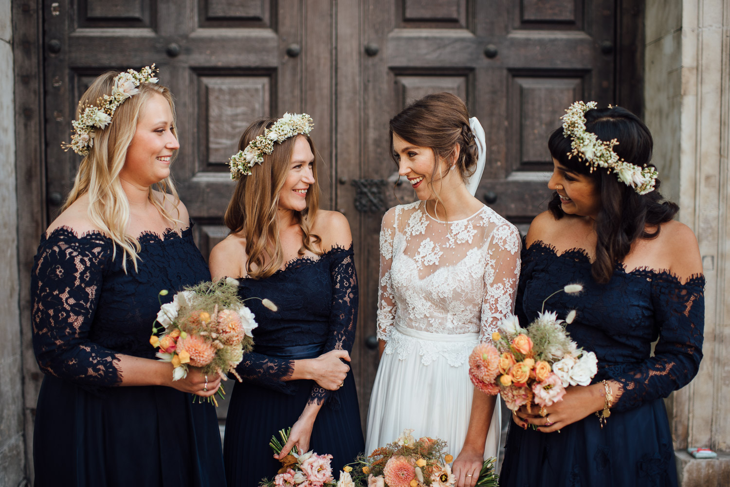 bride and bridesmaids wilton's music hall wedding by london wedding photographer the shannons photography