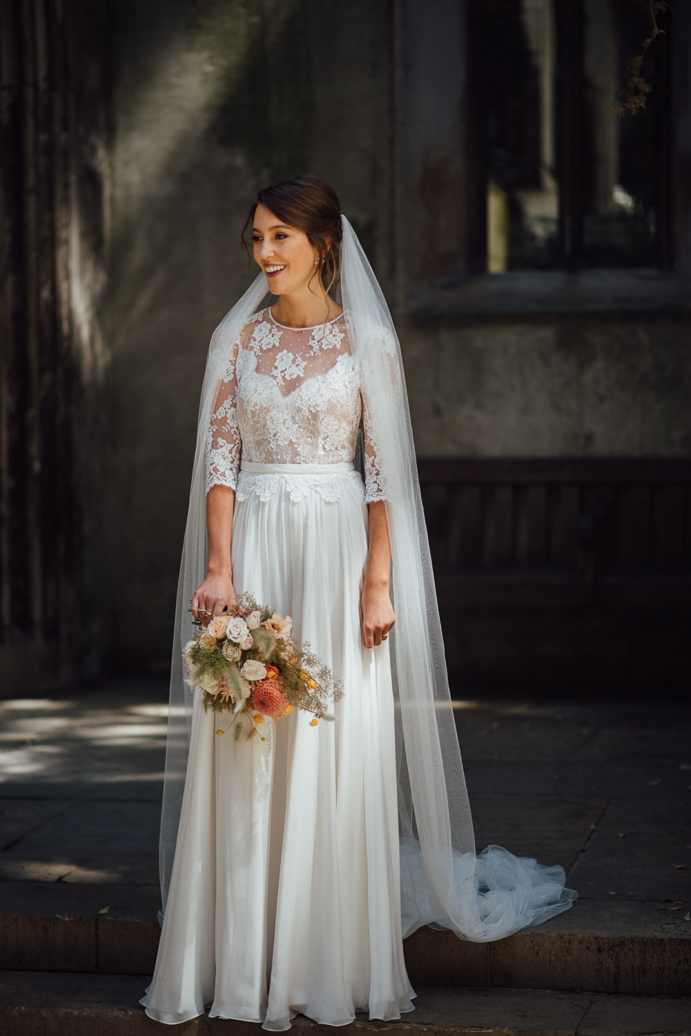 cool london bride in margaux tardits dress by the shannons photography