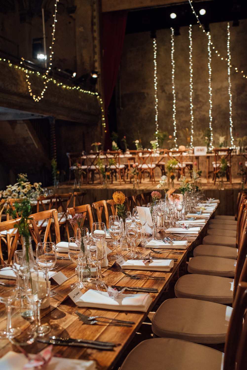 table decorations in wiltons music hall wedding by london wedding photographer the shannons photography