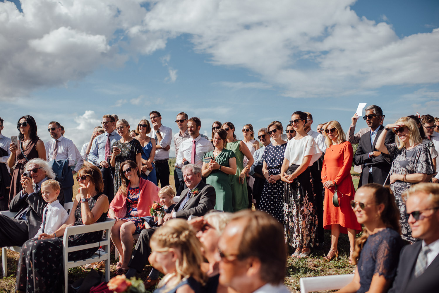 Cool wedding guests in Norwegian Barn Wedding by norway destination wedding photographer the shannons photography