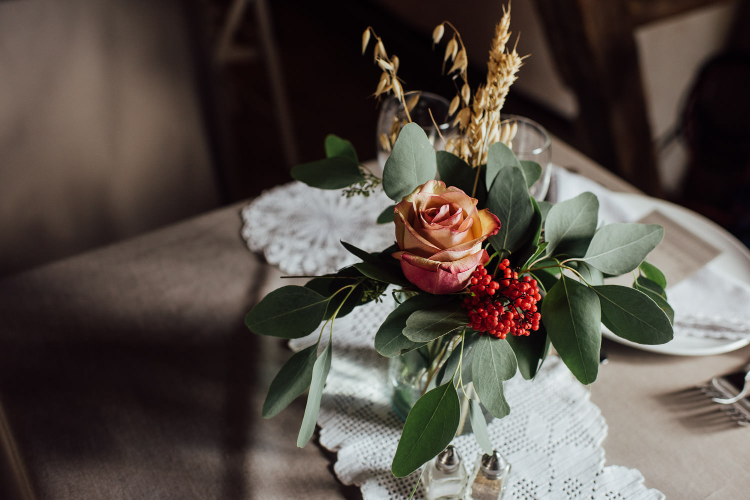 Floral details in Norwegian Barn Wedding by norway destination wedding photographer the shannons photography