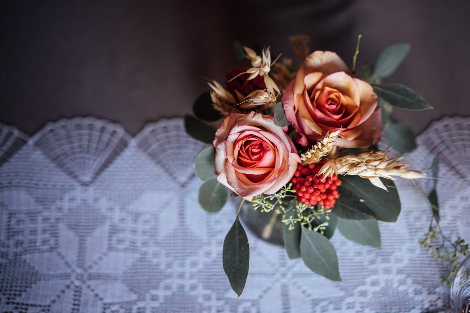 cool rustic scandi wedding flowers