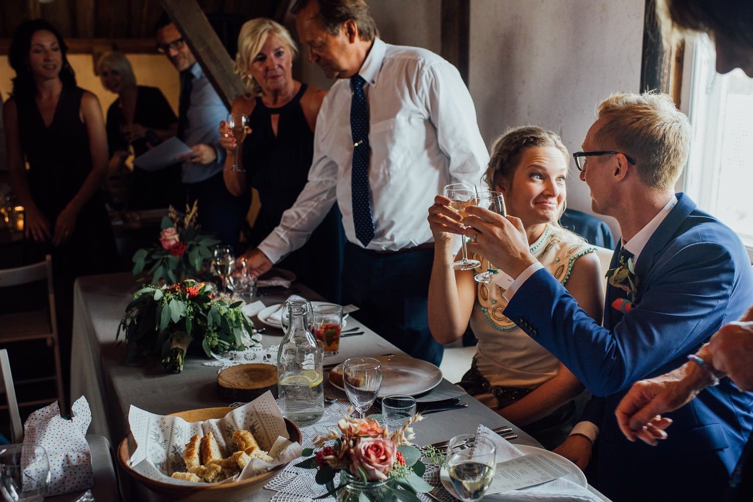 Wedding speeches in Norwegian Barn Wedding by norway destination wedding photographer the shannons photography