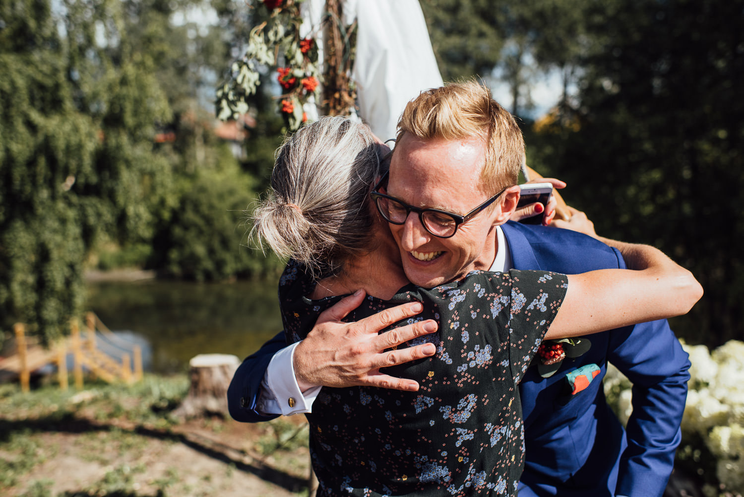 emotional groom in Norwegian Barn Wedding by norway destination wedding photographer the shannons photography