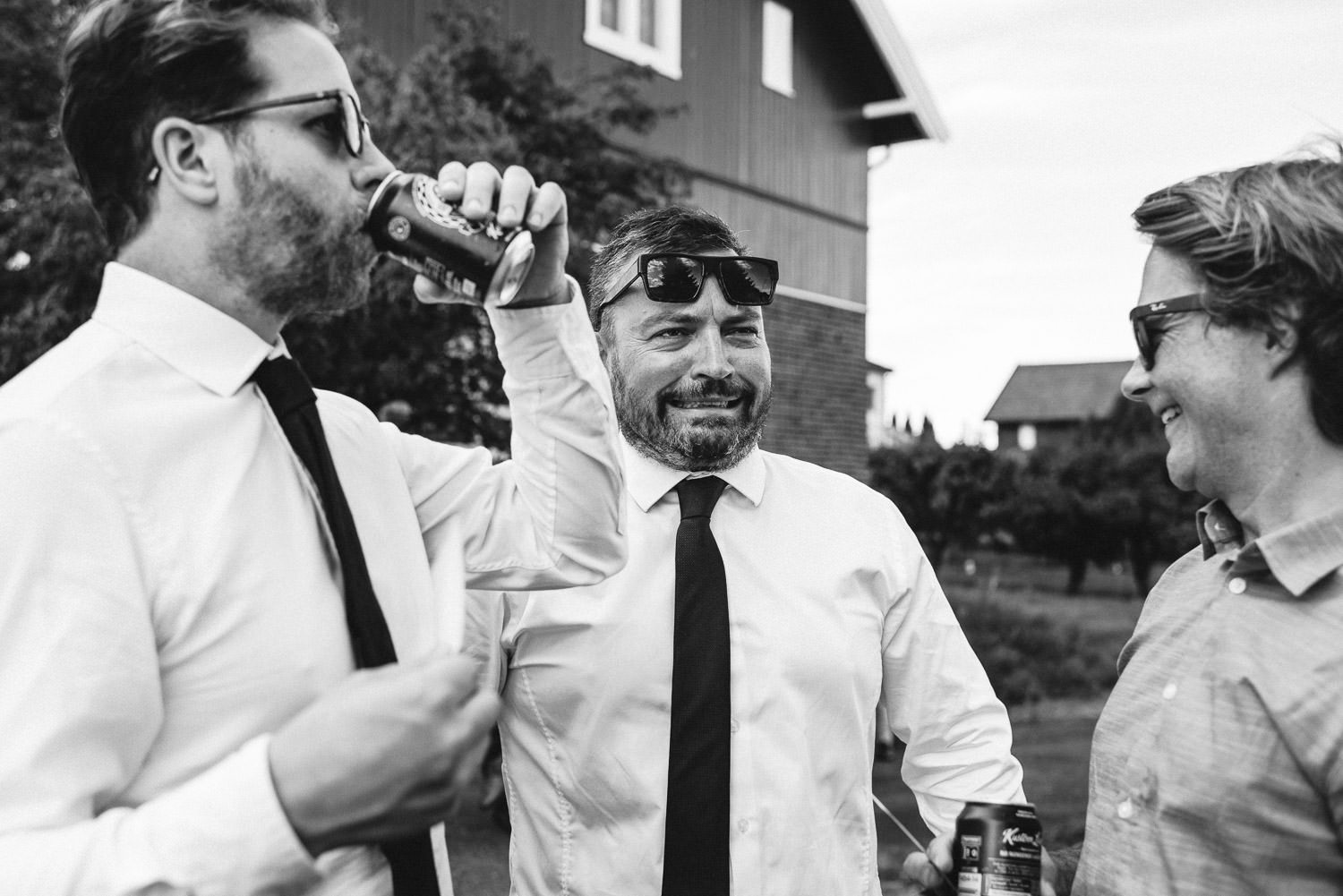 Wedding reception drinks in Norwegian Barn Wedding by norway destination wedding photographer the shannons photography
