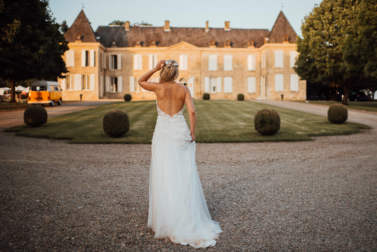 Charlie brear wedding dress at Chateau de Lacoste Wedding