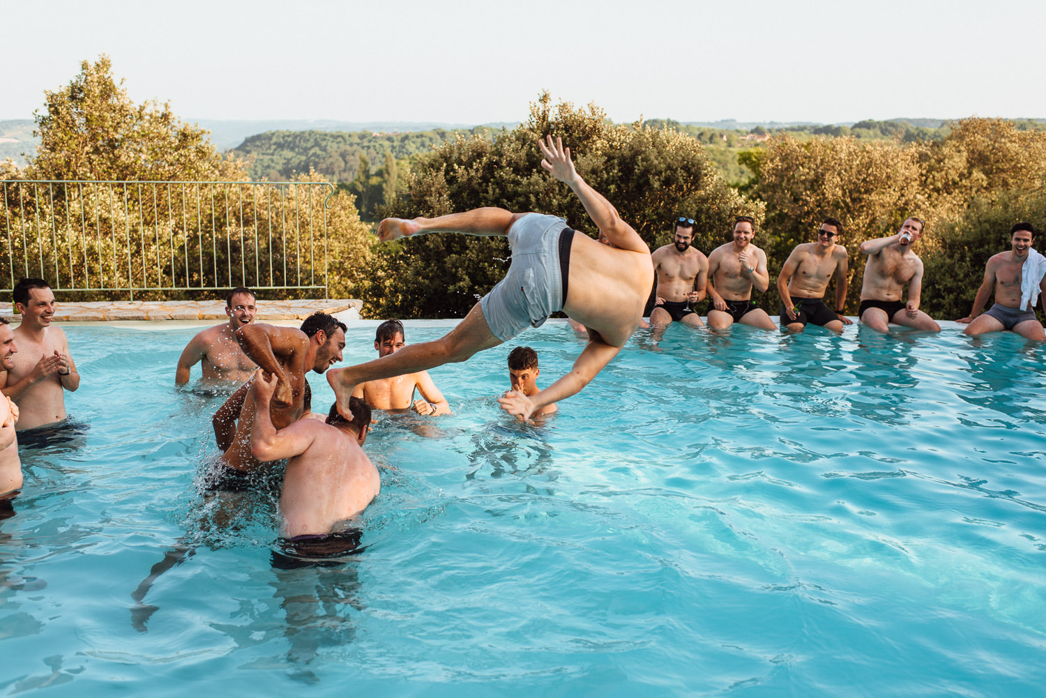 pool party in Chateau de Lacoste Wedding