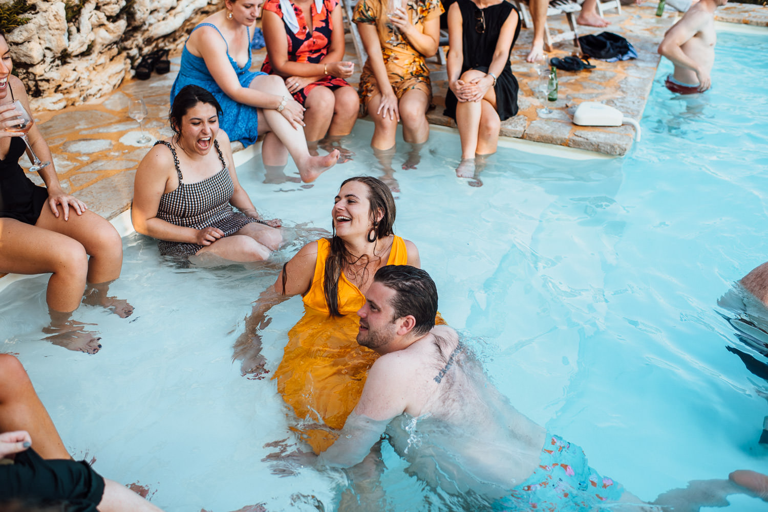 french destination wedding photographer pool party