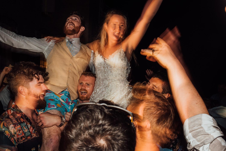 wedding party dancing in chateau de lacoste wedding