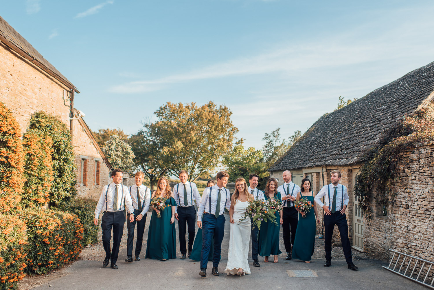 bridal party in oxleaze barn wedding