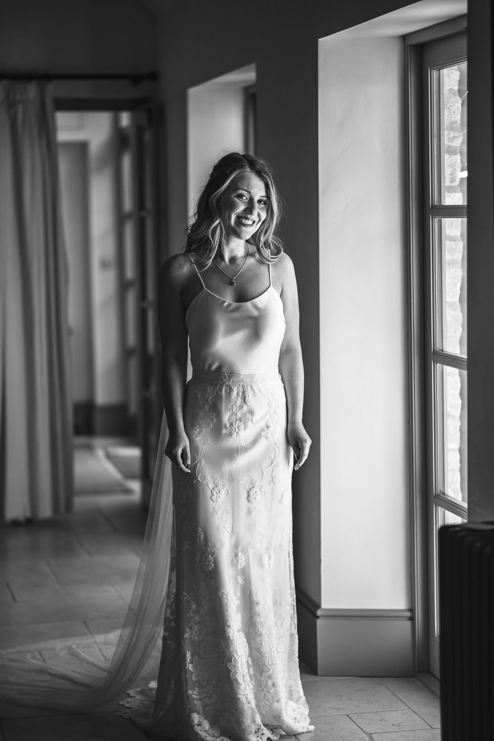 cool bride in halfpenny london wedding dress