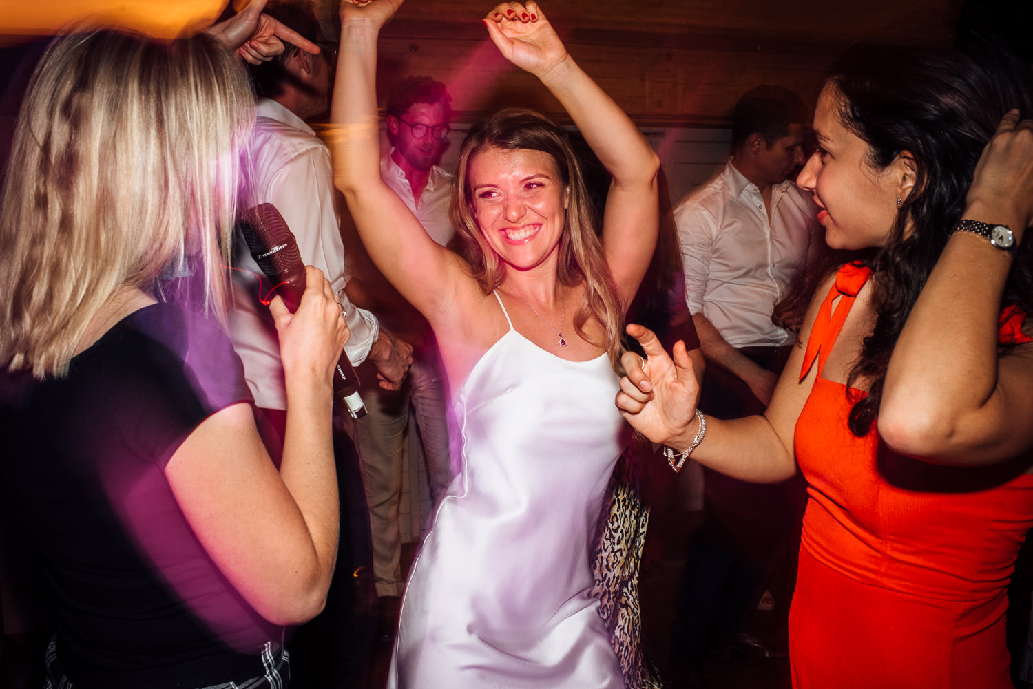 bride dancing in oxleaze barn wedding