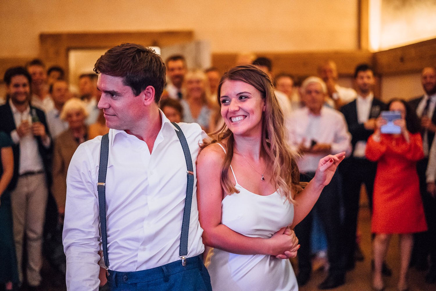 first dance at oxleaze barn wedding by london wedding photographer the shannons photography