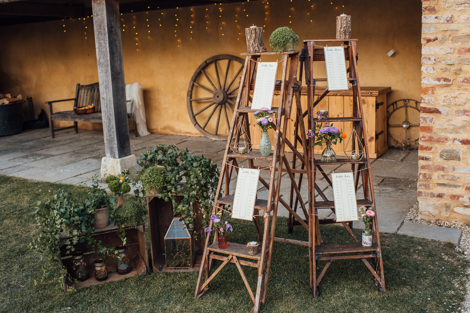rustic wedding decorations in oxleaze barn wedding