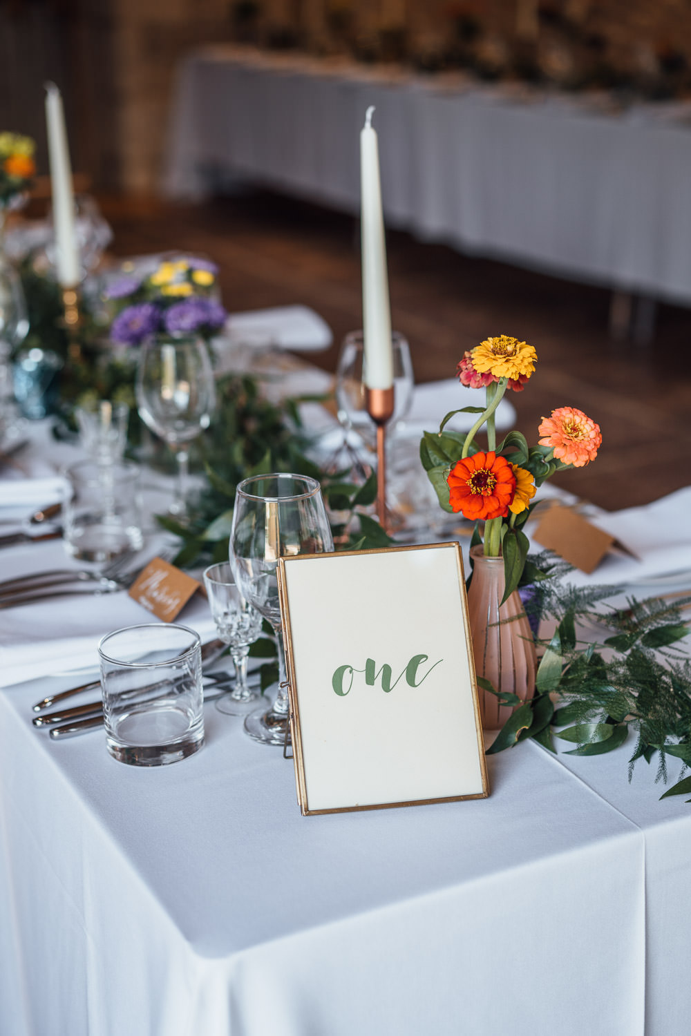 brush lettering wedding table decorations