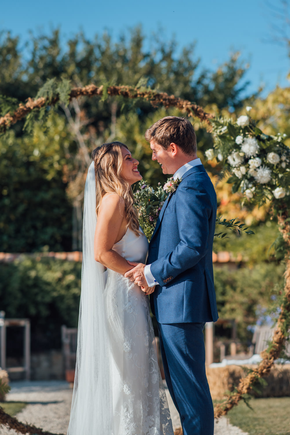 floral moon arch in oxleaze barn wedding