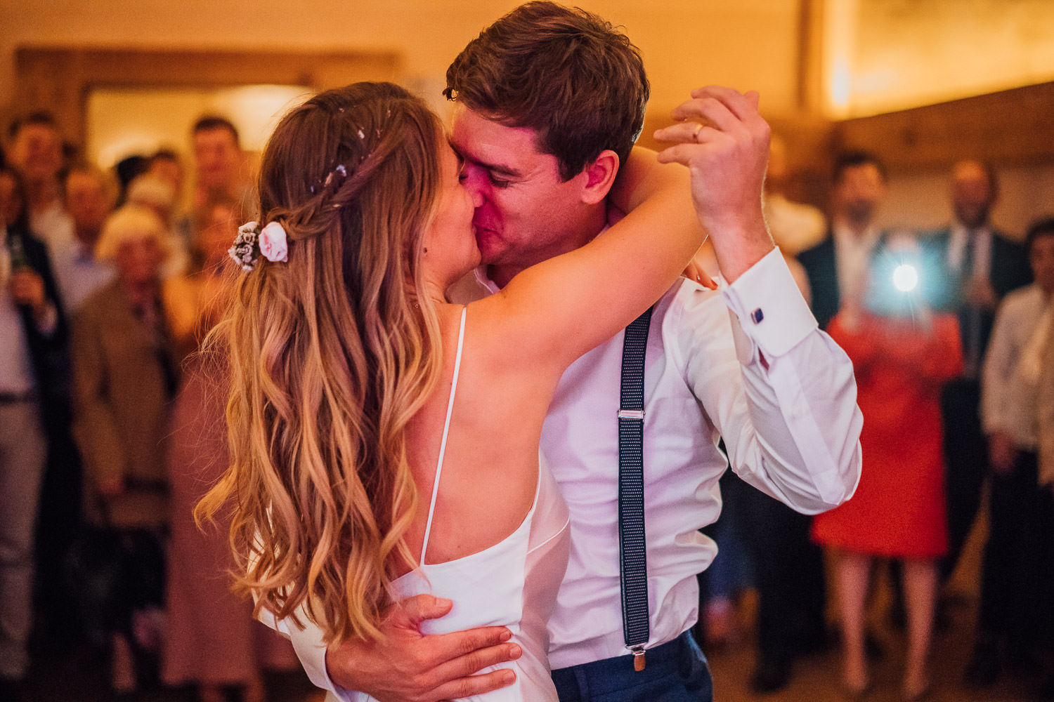 first dance in oxleaze barn wedding by creative london wedding photographer the shannons photography