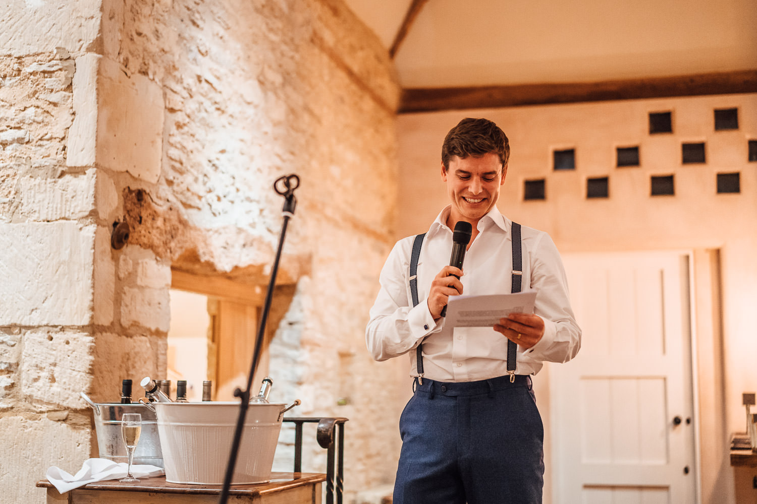 grooms speech in cotswolds barn wedding