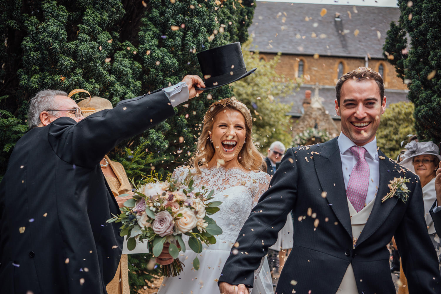 confetti shower in cool london wedding