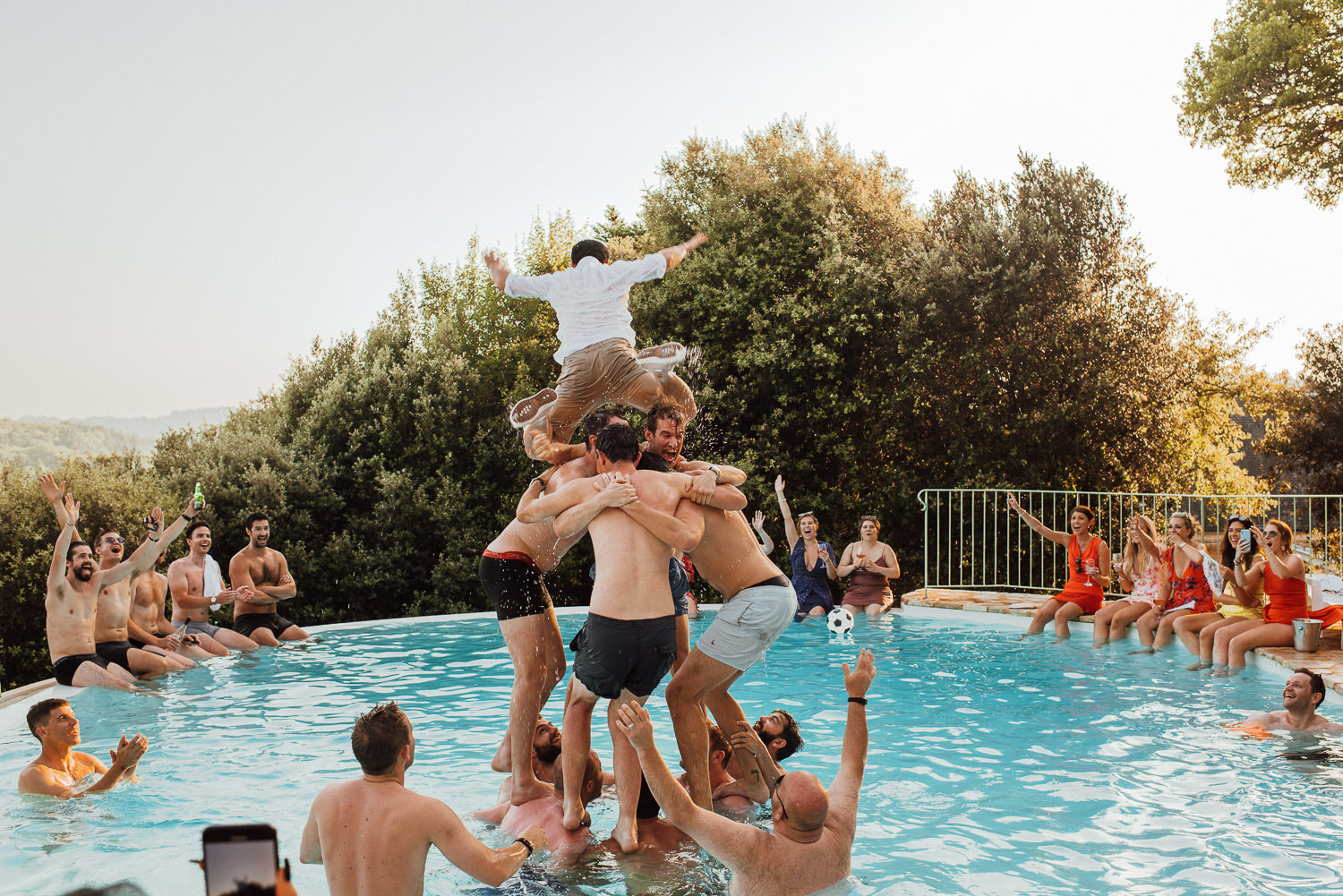 french destination wedding pool party