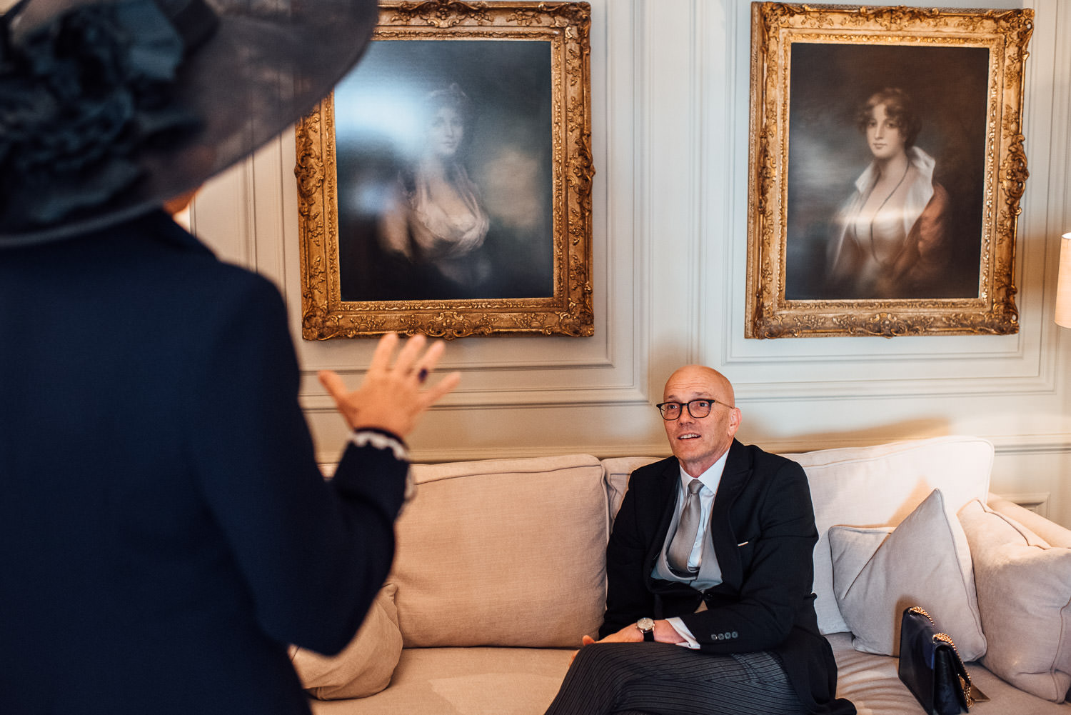 father of the bride in wedding morning suit by creative london wedding photographer