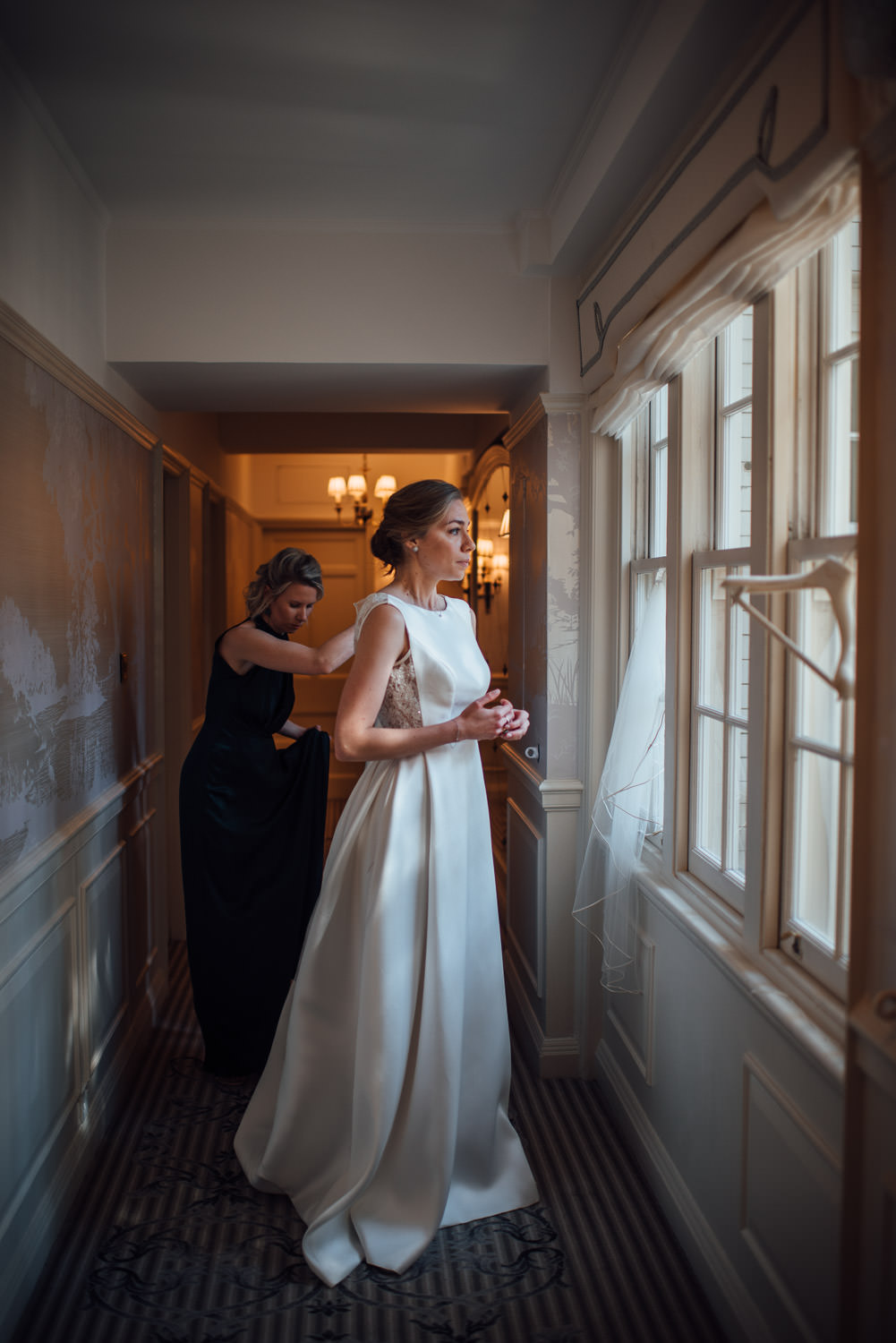 bride getting ready in mayfair wedding by the shannons photography
