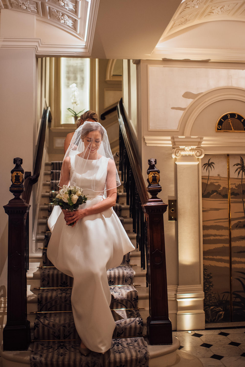 chic pronovias wedding gown in the goring hotel london wedding