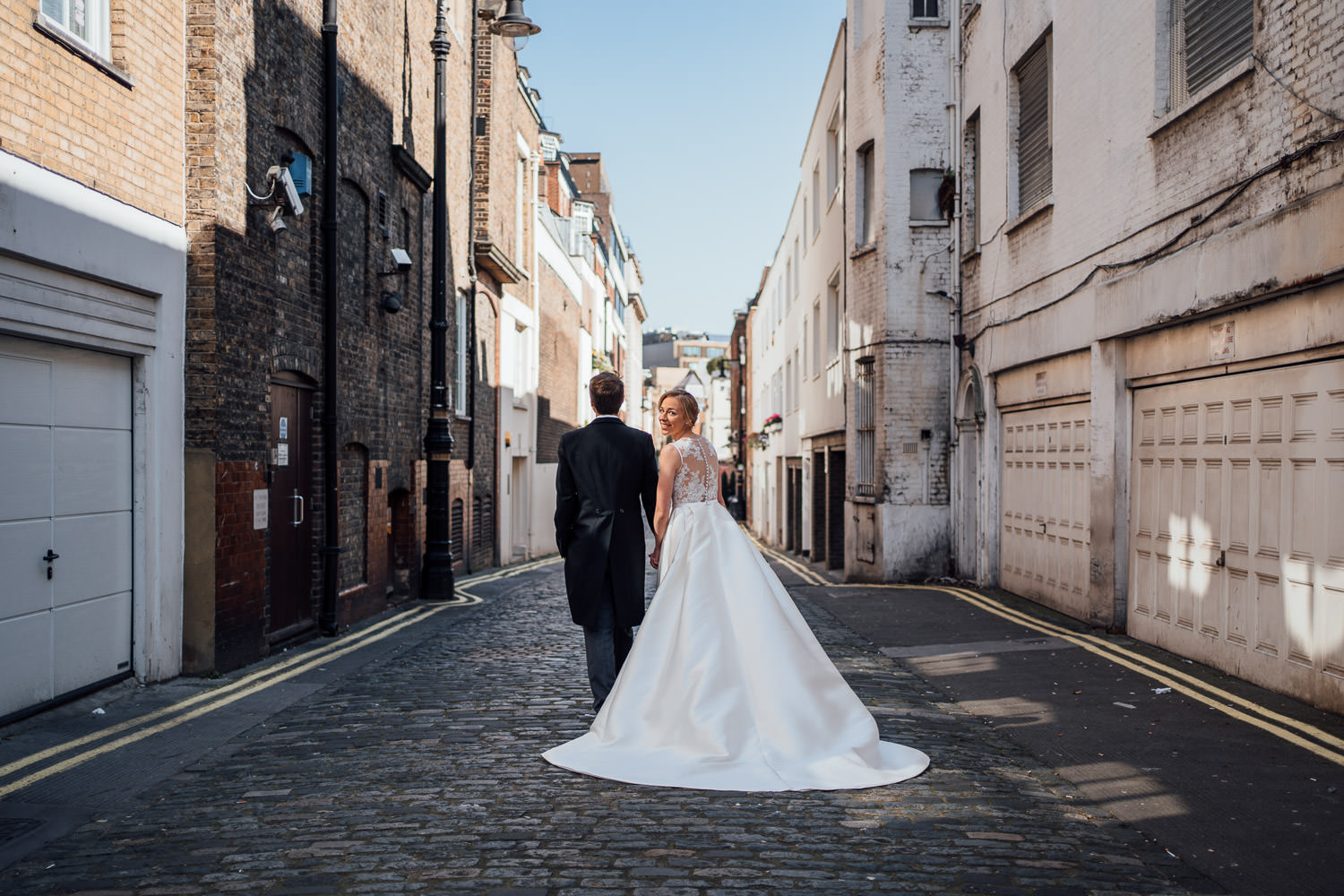 bridal portraits in empty london streets by london wedding photographer the shannons photography