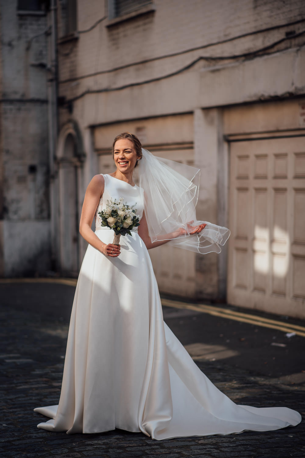 cool london bride in provovias wedding dress by the shannons photography