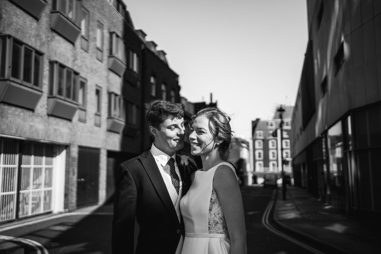 couples portraits in empty london streets by london wedding photographer the shannons photography