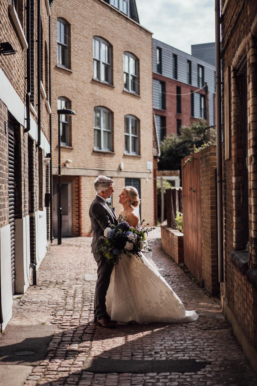 bride and groom in hackney town hall wedding