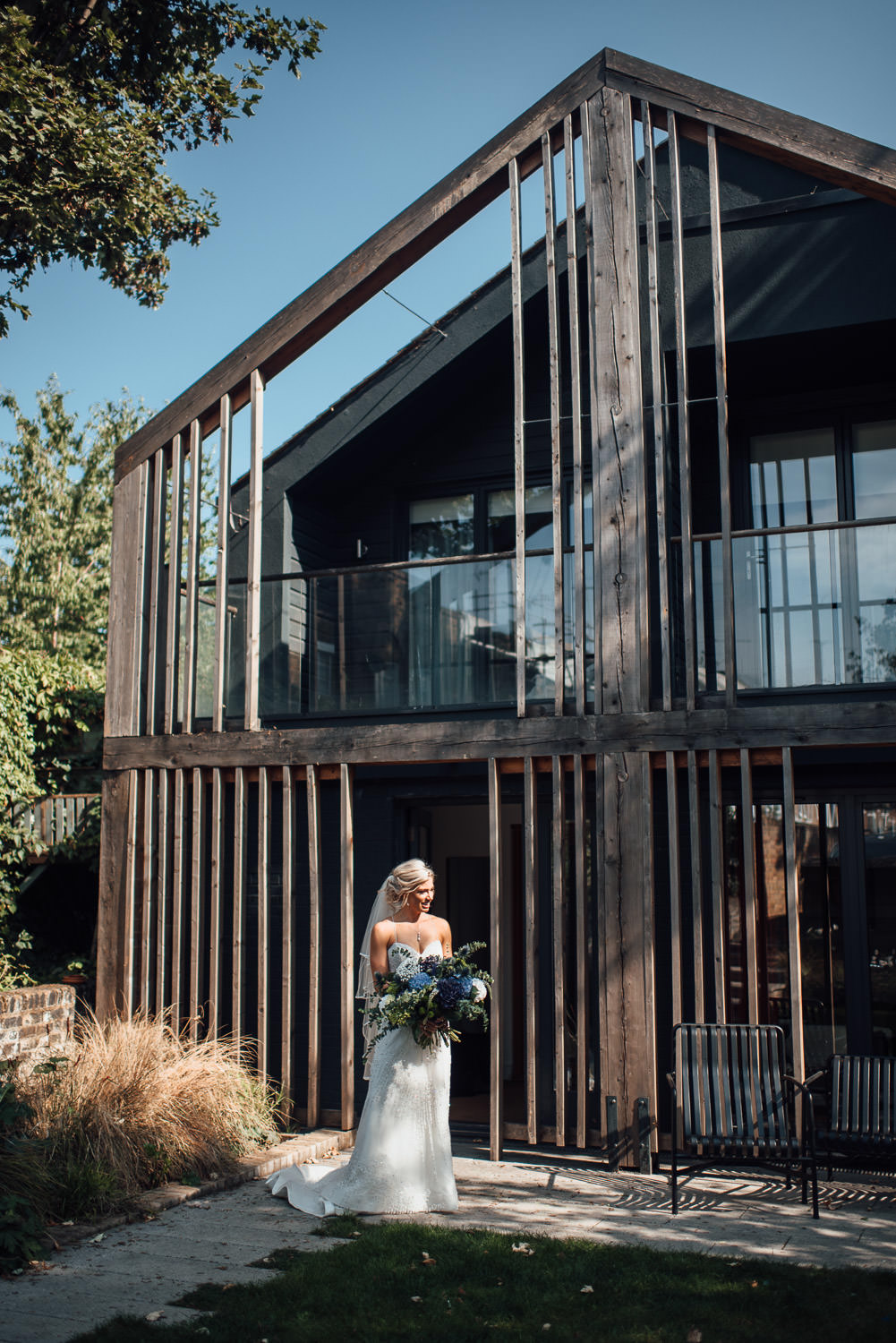 cool bride in the roost pub dalston wedding by creative london wedding photographer